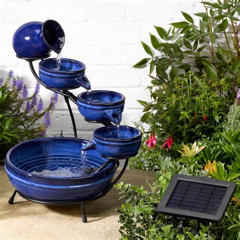 solar garden fountains solar neptune blue cascade water 163 67 99