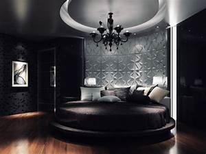 Contemporary 3d Wallpaper In Circular Bed Shape In Master ...