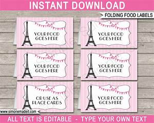 paris party food labels template place cards editable With food labels for party template