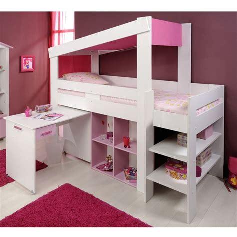 lit avec bureau pour fille chambre fille mezzanine lit mezzanine pino lit enfant pink flower blanc u2039u203a le lit