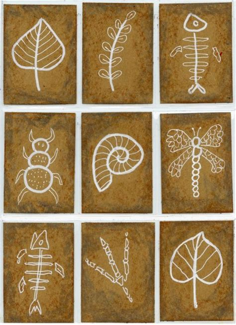 fossil drawings art projects  kids