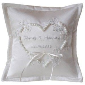 personalised white applique heart embroidered wedding ring cushion ayedo co uk