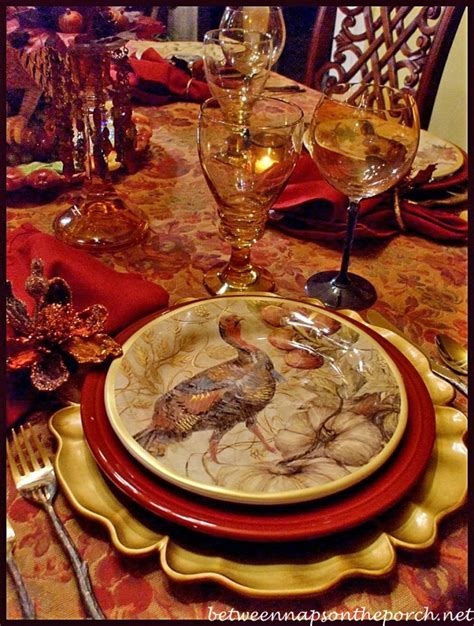 Pottery Barn Thanksgiving Plates by Thanksgiving Tablescape With Turkey Centerpiece And