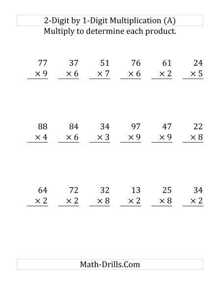 Multiplying A 2digit Number By A 1digit Number (large Print) Long Multiplication Worksheet