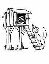 Chicken Coop Coloring Wolf Under Standing Hut Drawing Draw Netart Getdrawings sketch template