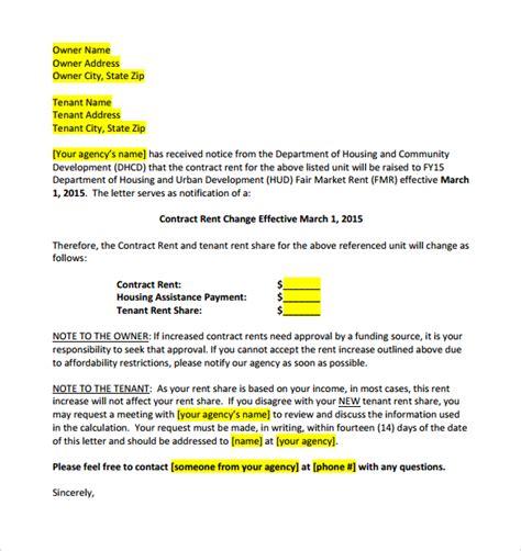 sample rental agreement letter 9 sample rent increase letter templates sample templates