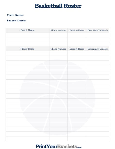 printable basketball roster sheet