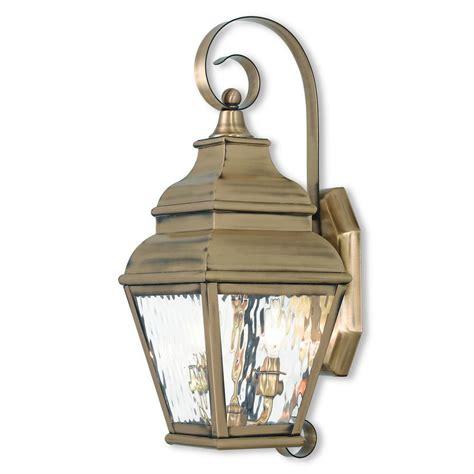 livex lighting exeter 2 light antique brass outdoor wall