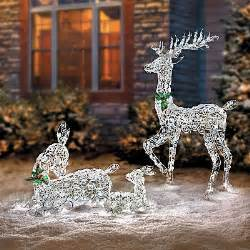 led lighted wireframe reindeer family outdoor