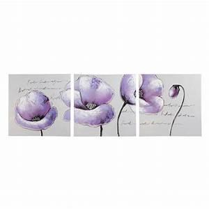 triptyque fleurs violette 50 x 150 cm purple maisons du With triptyque maison du monde