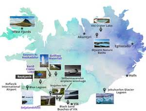 Iceland Map with Attractions