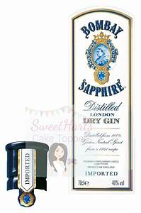 BOMBAY SAPPHIRE GIN BOTTLE LABELS EDIBLE ICING CAKE TOPPER