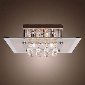 Comtemporary crystal drop flush mount lights with