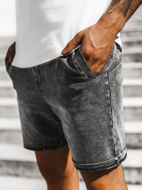 Vīriešu džinsa šorti melni OZONEE JS/KK106 | OZONEE.LV