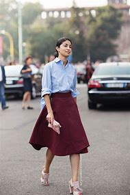 Burgundy Skirt Street Fashion