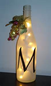 personalized initial white wine bottle decor light