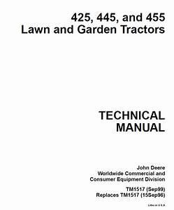 John Deere 425 445 455 Lawn  U0026 Garden Tractors Pdf Manual