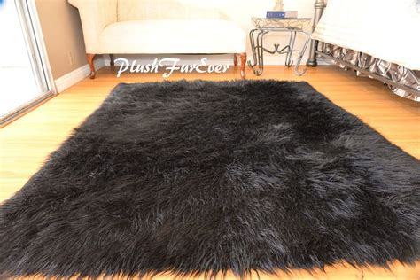 black fur rug 8 x 10 faux fur rug plush black mongolian large sheepskin