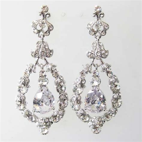 Sparkly Chandelier Earrings by Clear Vintage Style Rhinestone Cz Bridal Wedding