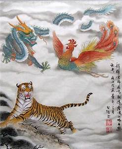 very beautiful chinese dragon, phoenix and tiger ...