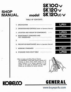 Kobelco Sk100 V  Sk120 V  Sk120lc V Excavator Pdf Manual