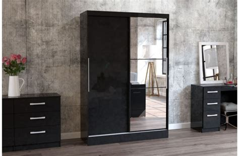 size bed storage birlea lynx black with black gloss sliding door wardrobe