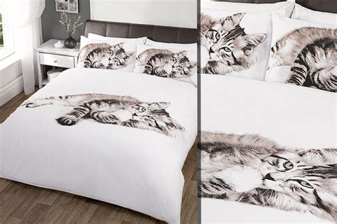 cat duvet cover cat patterned duvet cover set shop wowcher