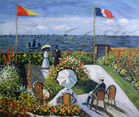 garden at sainte adresse painted painting repro claude monet garden at