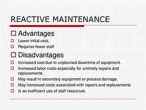 Maintenance strategies