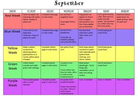 color for september preschool color activities teachermom234