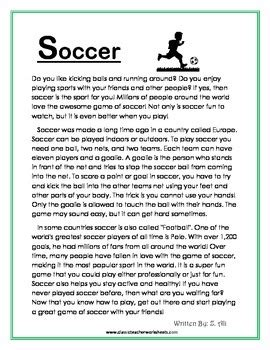 Reading Comprehension  Grade 4 (4th Grade)  Nonfiction Story Soccer