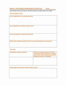 weekly job search review and action plan template in word With job search action plan template