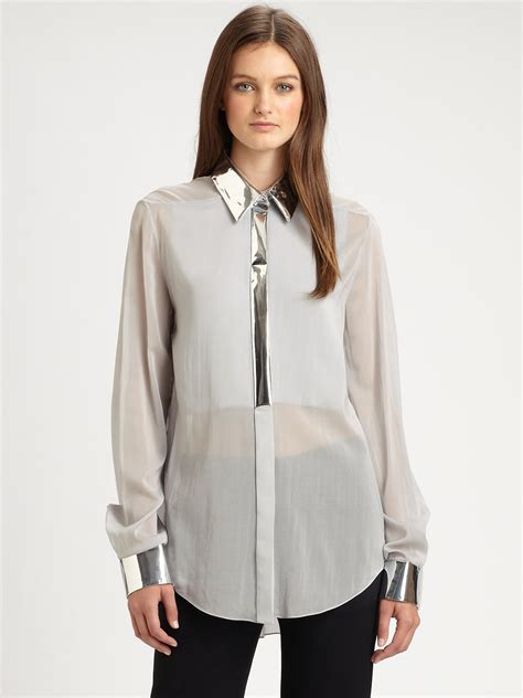 silver blouse 3 1 phillip lim metallic trimmed stretch silk blouse in