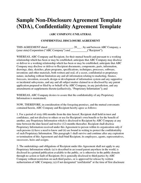 disclosure agreement template  sample nda template