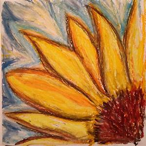 Sunflower - abstract oil pastel drawing by Onny @artbyonny ...