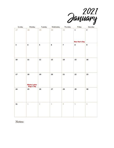 Download Free Printable Calendar 2021 With Holidays  PNG