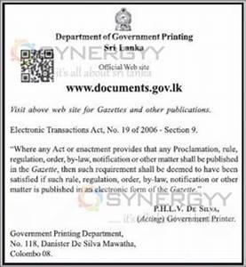 sri lanka government gazettes now on wwwdocumentsgovlk With government gazette documents