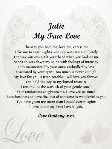 personalised romantic poem scroll true love  love
