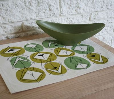 modern vinyl placemats avocado kitchen and and pears midcentury style