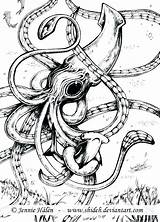 Squid Coloring Kraken Giant Pages Drawing Marine Cuttlefish Tattoo Octopus Squids Sea Corps Calamar Gigante Whale Pulpos Dibujo Vs Sperm sketch template