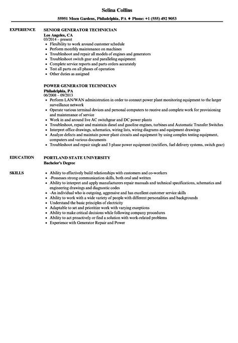 generator technician resume sles velvet