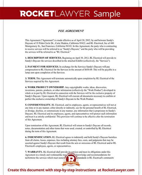 fee agreement form  sample