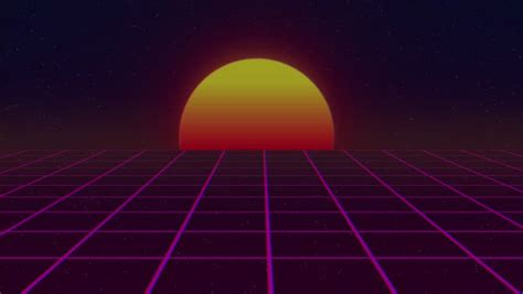 80s Retro Futurism Sun Space Background Stock Footage