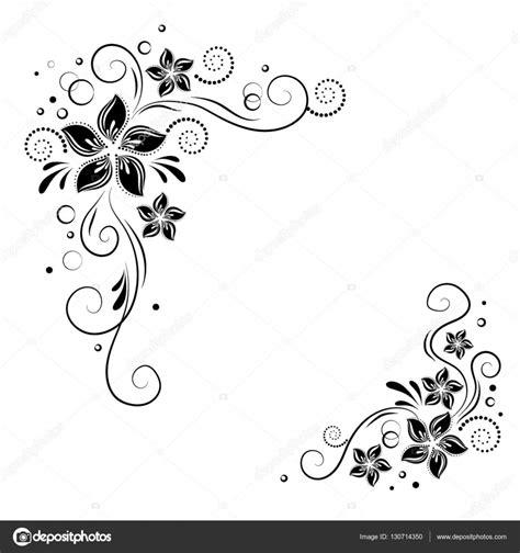 coin floral design l ornement de fleurs noires sur fond blanc stock vector bordure
