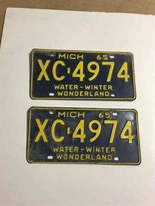1965 Michigan License Plate Matched Pair Many More See My
