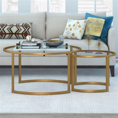 Shop for round coffee tables at cb2. Whitacre Extendable Sled 2 Nesting Tables Coffee Table Set in 2020 | Round nesting coffee tables ...