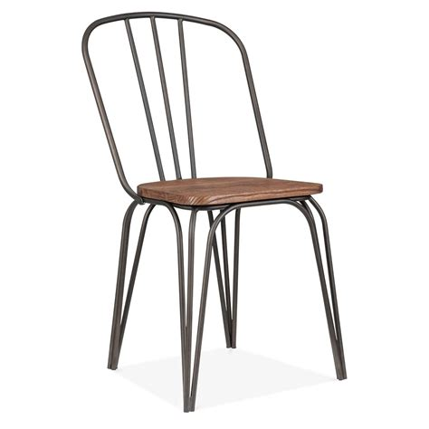 chaise en acier cult living loretta dining chair in gunmetal with wood