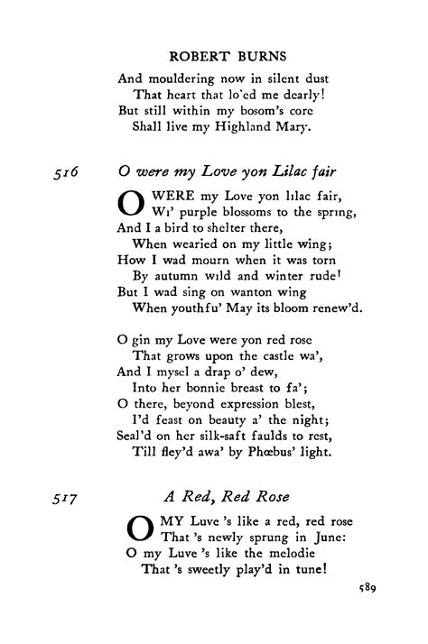robert burns o were my love yon lilac fair meaning