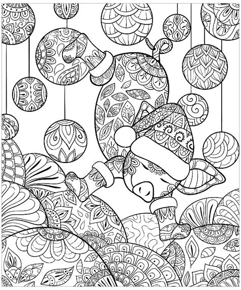 pig christmas zentangle pigs adult coloring pages
