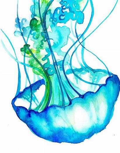 Jellyfish Watercolor Fun Painting Colorful Aquarell Arte
